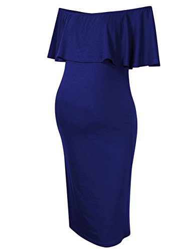 MissQee Maternity Dress Maternity Photoshoot Dress (S, Navy Blue)