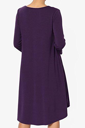 TheMogan Women's 3/4 Sleeve Trapeze Knit Pocket T-Shirt Dress Dark Purple 1XL by TheMogan (Image #2)