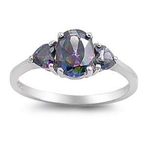Rhodium Plated Sterling Silver Ring with Rainbow Topaz Colored Cubic Zirconia - Oval and Heart Stones - Face Height: 14mm - Sizes: 5-10