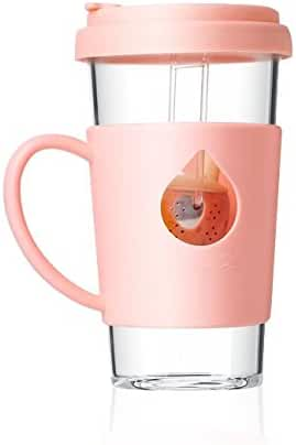 Single Cup Loose Leaf Tea Infuser with Fun Duckling Design, Made with Glass and Silicone - 12.5oz, 370ml (Pink)