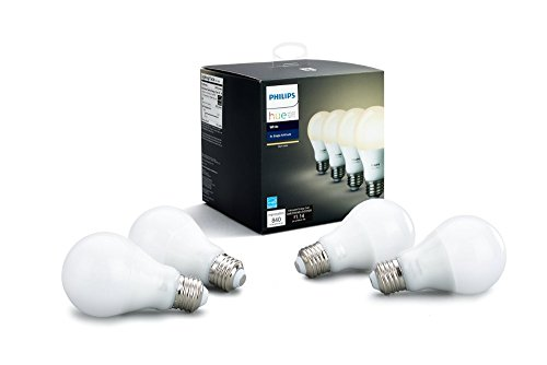 (Philips Hue White A19 4-Pack 60W Equivalent Dimmable LED Smart Bulbs (4 White Bulbs, Compatible with Alexa, HomeKit & Google Assistant, Hub Required))
