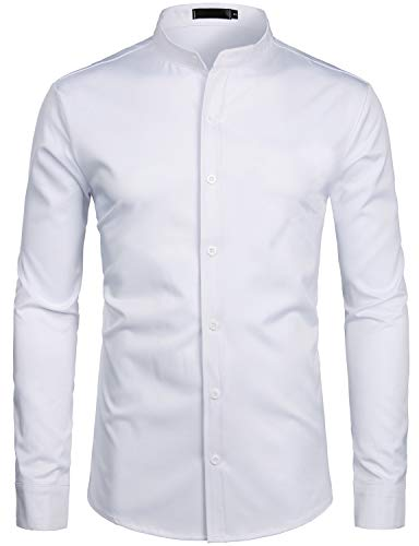 ZEROYAA Mens Hipster Solid Slim Fit Long Sleeve Mandarin Collar Dress Shirts ZLCL08 White XX-Large