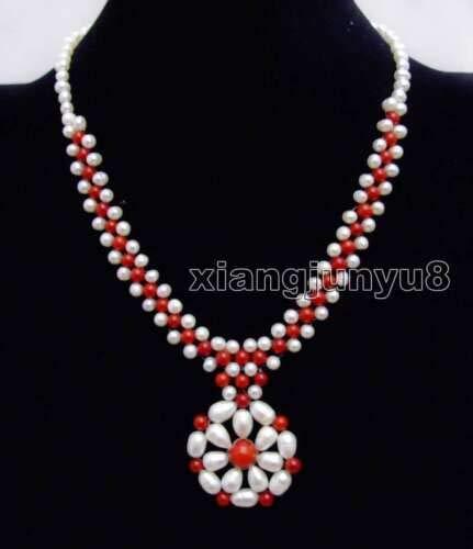 (FidgetKute 5-6mm White Pearl & Orange Coral with 35-40mm Pendant 3 Strands Necklace-nec6218 White Pearl and Red Coral)