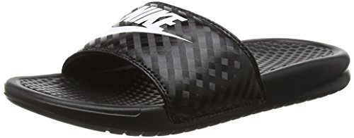 Nike Women's Benassi Just Do It Sandal, Black/White, 6 Regular US (Womens Nike Id)
