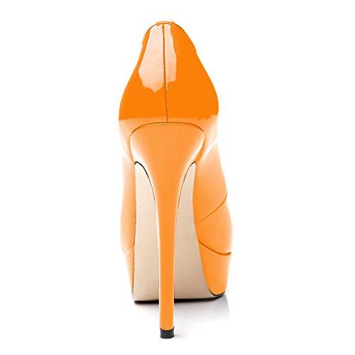 toe Scarpe col Scarpe plateau Donna da con Scarpe uBeauty Arancione Tacco peep Scarpe pxwtqIPIa