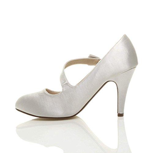 Babies ud Strass Talon Taille Femmes Sangle Haut Mariage Chaussures N Escarpins Argent qw6x78gxI