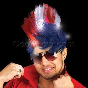 Fun Central O564 LED Light Up Mohawk Wig - Patriotic - Red White And Blue Wig