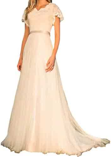 c79085bf85af ... Half Sleeve Princess Lace Wedding Dress. (11). Dimei Women's Spaghetti  Straps deep V-Neck Prom Dresses Long Backless Tulle Dual Front Slits