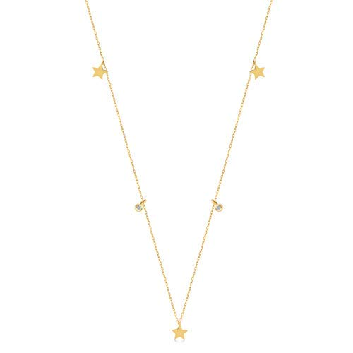 GELIN 14k Yellow Gold 0,02 ct Diamond Star Station Pendant Chain Necklace for Women,18 ()