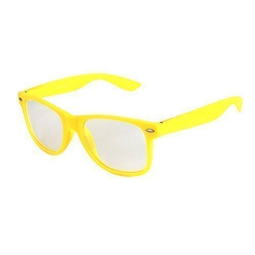 haute qualité Nerd Lunettes De Soleil mat Gomme Rétro Vintage Unisexe Lunettes avec Charnière à ressort - 101 plusieurs couleurs/Modèles au choix Yellow - Transparent
