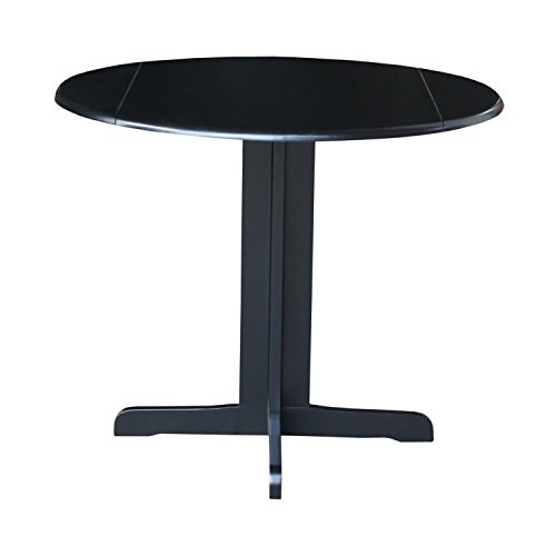 International Concepts Dual Drop Leaf Dining Table, Black, 36-Inch