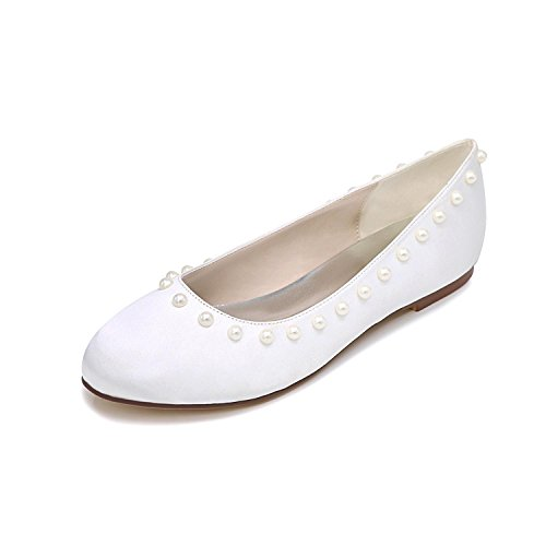 L@YC Mujeres De La Boda De Tacones altos Cerca De Los Zapatos De La Novia Multi-Color Flat Single White