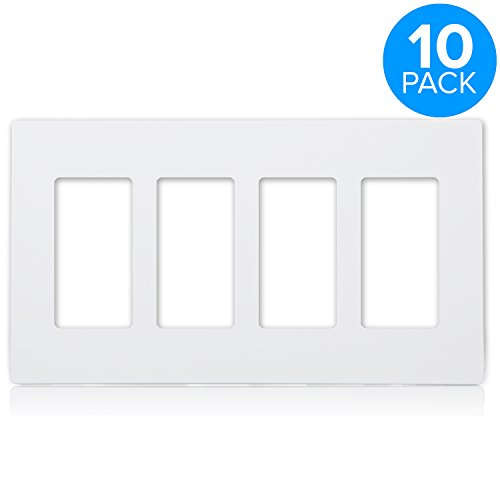 Maxxima 4 Gang Decorative Outlet Screwless Wall Plate, White, Multi Outlet, Standard Size (Pack of 10) ()