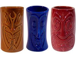 Hawaiian Tiki Shot Glass - Tiki Shot Glasses 2 Oz. Comes with Brown, Blue, and Red