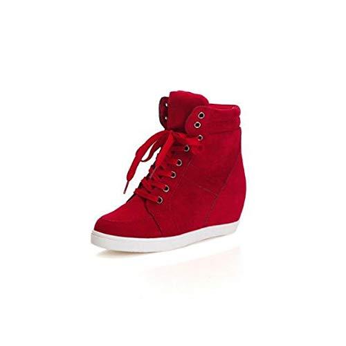 Zapatos Spring Mujer Round Zapatillas Canvas Black Heel Comfort Black Wedge ZHZNVX de Toe Red dnqapdg