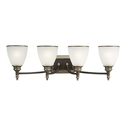 1 Ripple Bath Light (Sea Gull Lighting 44352-708 Laurel Leaf Four-Light Bath or Wall Light Fixture with Etched Ripple Glass Shades, Estate Bronze Finish)