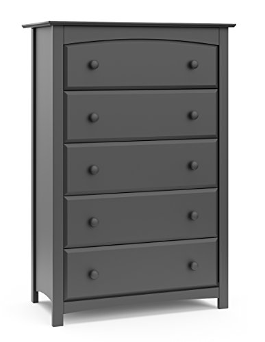 Storkcraft Kenton 5 Drawer Universal Dresser, Gray, Kids Bedroom Dresser with 5 Drawers, Wood and Composite Construction, Ideal for Nursery Toddlers Room Kids - Painted Set Dresser