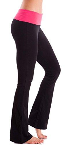 Slimming Foldover Bootleg Flare Comfy Comfortable Yoga Pants (Small, Black&Hot Pink Waist)