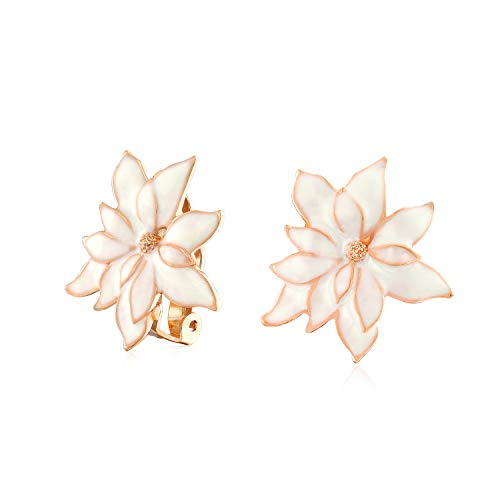 (Cream Off White Water Lily Flower Clip On Earrings For Women Non Pierced Ears Rose Gold Plated Brass)