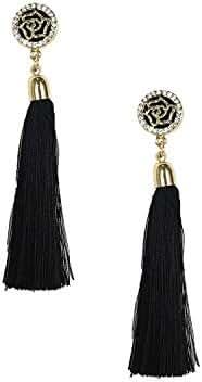 B Jewelry Collection Deco Rose Long Tassel Earrings, Black