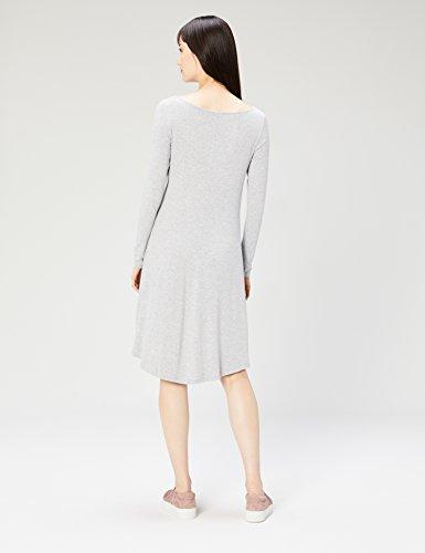Heather Light Ritual Sleeve Women's Bateau Neck Daily Dress Grey Jersey Long azRFwq