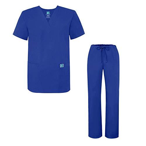 Adar Universal Medical Scrubs Set Medical Uniforms - Unisex Fit - 701 - RYL - S Royal Blue