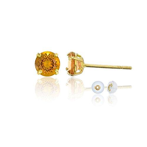 Madeira Citrine Gemstone - 14K Yellow Gold 4mm Round Madeira Citrine Stud Earring