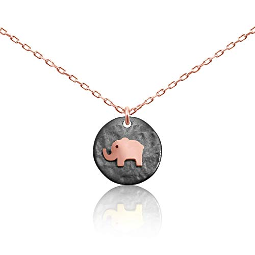 Lucky Elephant Animal Necklace Rose Gold for Women ()