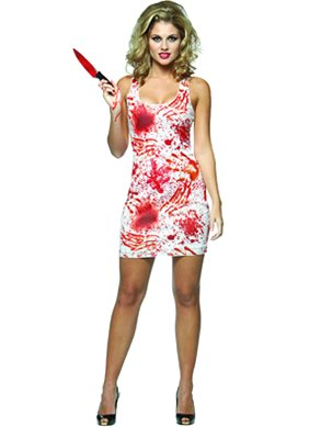 Tank Bloody Costumes Dress (Rasta Imposta Bloody Tank Dress, White, Adult)