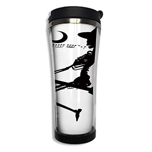 Travel Coffee Mug 3D Printed Portable Vacuum Cup,Insulated Tea Cup Water Bottle Tumblers for Drinking with Lid 8.45 OZ(250 ml)by,Music,Witch Flying on Electric Guitar Notes Bat Magical Halloween Artis ()