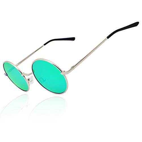 Ronsou Lennon Style Vintage Round Polarized Sunglasses Eyewear with Mirrored or Plain Lens silver frame/green blue lens -