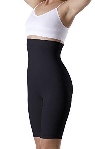 (Yenita® Women's Shapewear, High-Waist Long Leg Thigh Slimmer, Tummy Control (XL, Black) )
