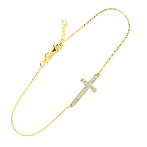 CZ Sideways Cross Bracelet (7.50 to 8.00 inches) (8 Inch Claddagh Bracelet)