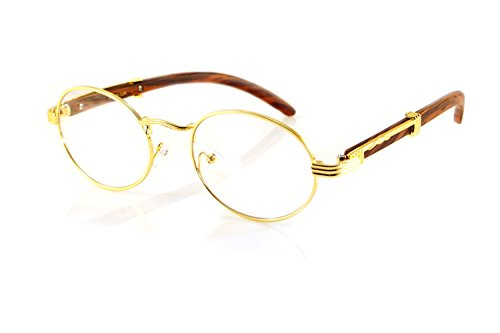 FBL Vintage Oval Clear Lens Metal & Wood Feel Eyeglasses A103 (Gold/ - Oval Eyeglasses