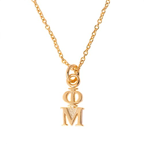 Desert Cactus Phi Mu Sorority 24k Gold Plated Lavalier Letter Necklace with Chain (24k Lavalier)