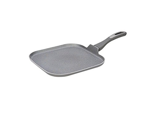 Home N Kitchenware Collection 11'' Inch Square Aluminum Griddle Pan, Forged Rough Surface Marble, Non-Stick, Premium Quality, Grey