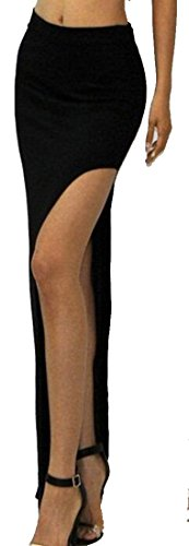 XQS Women's Thin Solid Color Sexy Side Slit Skirt OS black