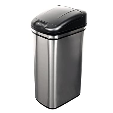 NST Nine Stars DZT-42-1 Infrared Touchless Automatic Motion Sensor Lid Open Trash Can, 11.1-Gallon