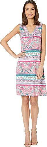 Tribal Women's Printed Jersey Sleeveless Beaded Dress Dahlia Medium