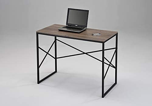 Dark Oak Sonoma and Black Computer Laptop Writing Study Desk Modern Home Office