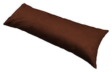 "Faux Suede Body Pillow Cover with Zipper, Micro Suede Fabric 20"" x 54"" (Chocolate, 20""X54"")"