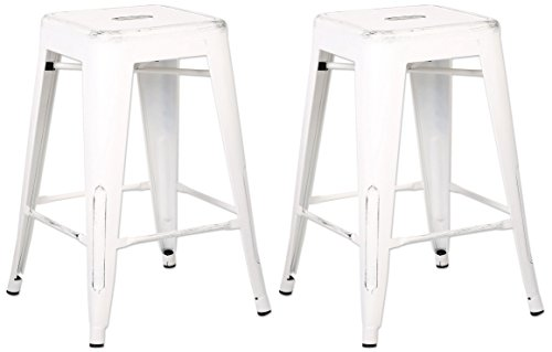AC Pacific Modern Backless Light Weight Industrial Metal Barstool 4 Leg Design, 24 Seat Bar Stools (Set of 2), Distressed White Finish