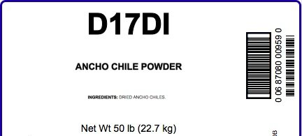 Ancho Powder - 50 Lb Bag / Box Each