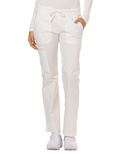 Dickies Gen Flex by Women's Low Rise Straight Leg Scrub Pant XX-Small Petite White (Petite Low Pants Scrub Rise)