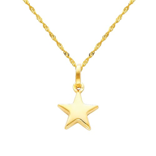 14k Yellow Gold Star Charm Pendant with 1.2mm Singapore Chain Necklace - 16