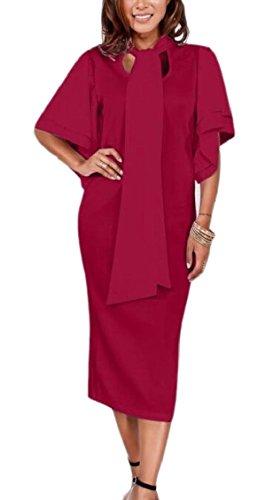 Donne Del Collo Vestito Jaycargogo Bicchierino Bodycon Midi Legame Dell'increspatura Rosso Manicotto Arco rtqTUxwt