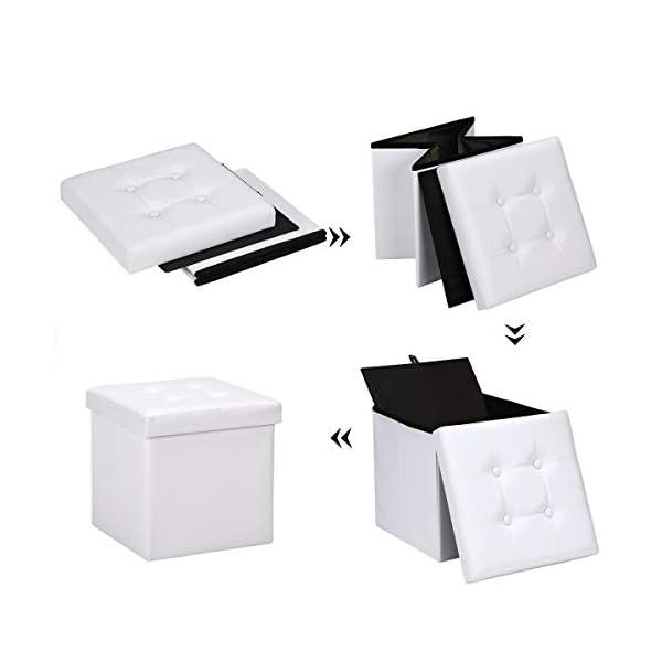 Deuba Pouf Tabouret Coffre Blanc Similicuir Cube Pliable 38x38x38cm Max. 40 L Salon Maison Boîte de Rangement siège
