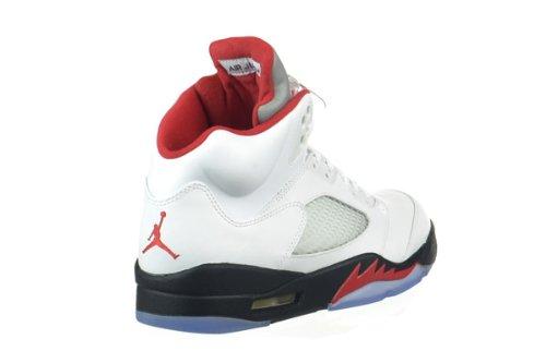 Nike Air Jordan 5 Retro 136027-035 - Zapatillas deportivas de cuero para hombre white/fire red-black