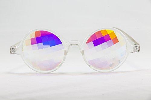 Festival Junkie Clear PLUR-Vision Rainbow Pane Kaleidoscope Glasses