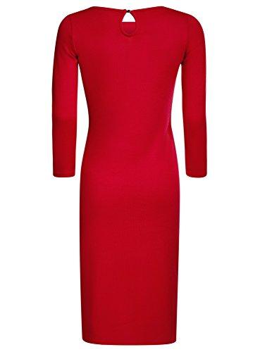 oodji Collection Mujer Vestido de Punto con Escote Gota en la Espalda Rojo (4500N)